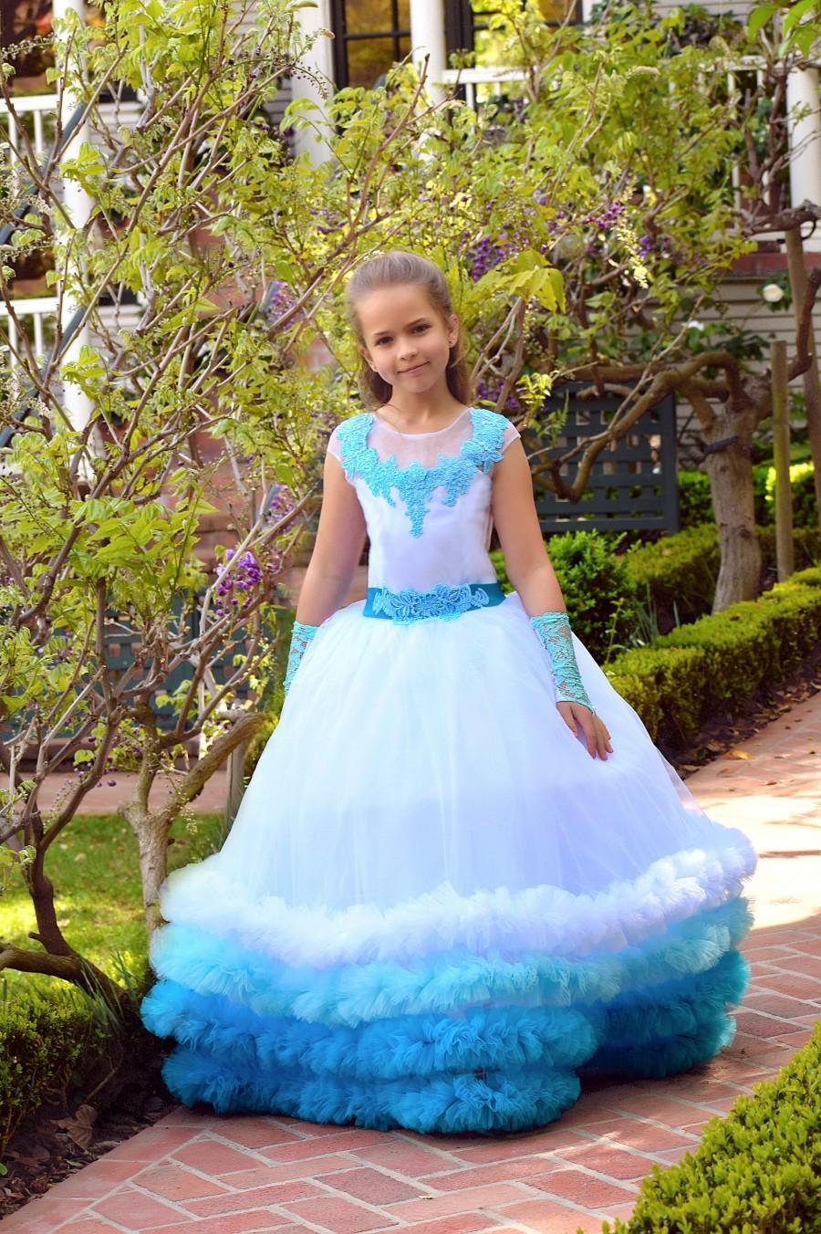 ada9b95c3b24b Ruffle Dress Flower Girl Dress Aqua Wedding Princess Dress Rainbow ...