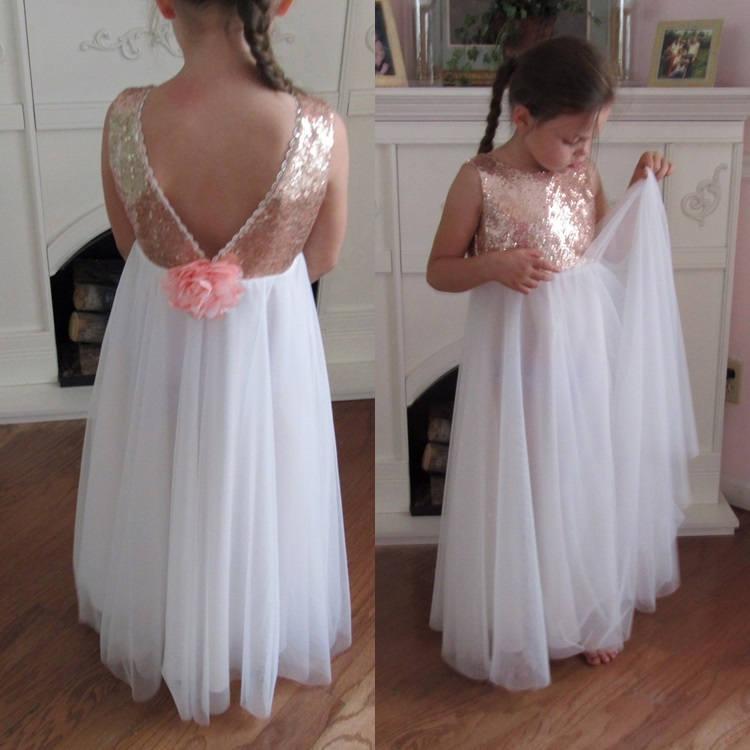 Mariage - White tulle flower girl dress, Ball gown Rose gold sequin dress, Gold white wedding, Gold glitter dress, white tutu dress,Junior Bridesmaid