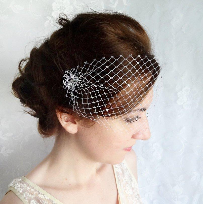Hochzeit - birdcage veil with crystals, small birdcage veil, mini birdcage veil bandeau -SPRINKLED SPARKLES- bridal headpiece, wedding hairpiece