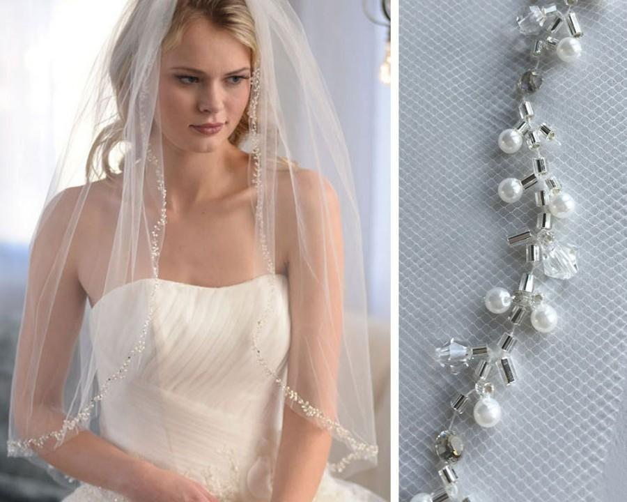 Свадьба - Beaded Pearl Wedding Veil, Pearl Bridal Veil, Beaded Veil, Tulle Veil, Veil with Comb, Floral Veil, 1 Layer Veil, Fingertip Veil ~VB-5034