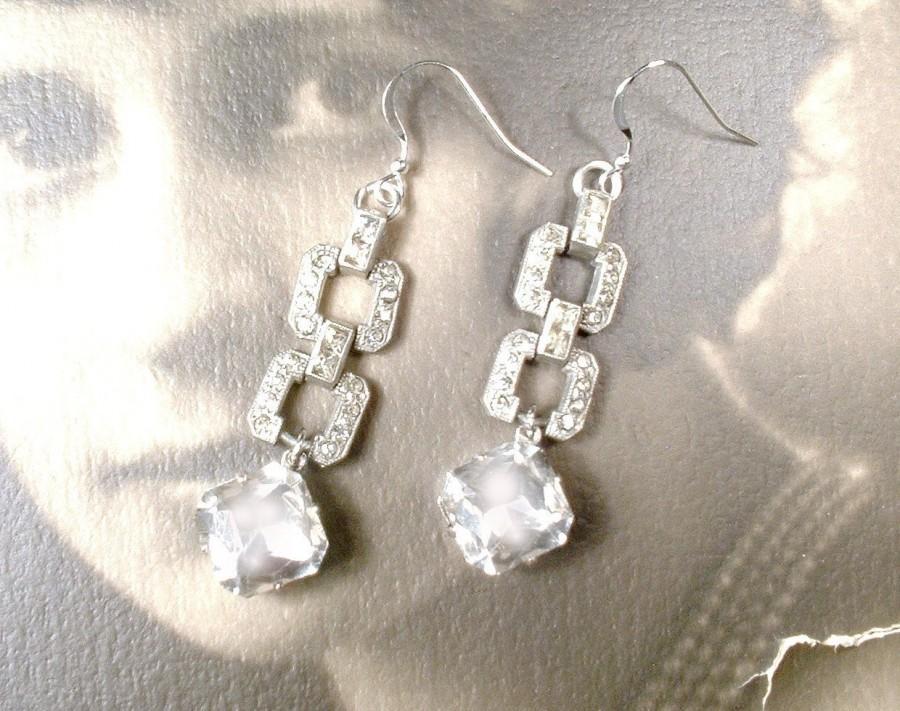 زفاف - Antique Edwardian 1920 Bridal Earrings Sterling Silver Rhinestone Dangle Earrings Vintage Long Paste Crystal Statement Drop Art Deco Wedding