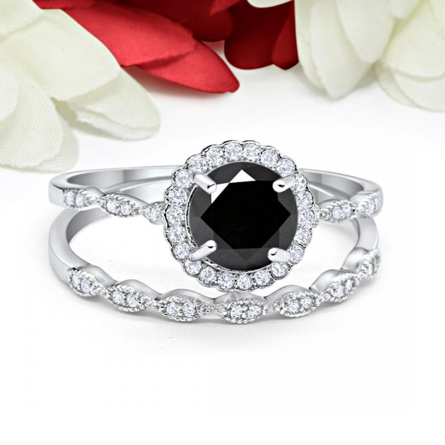 Wedding - Vintage Art Deco Wedding Engagement Bridal Ring Band Two Piece 1.00 Carat Round Black Diamond CZ Simulated Diamond Solid 925 Sterling Silver
