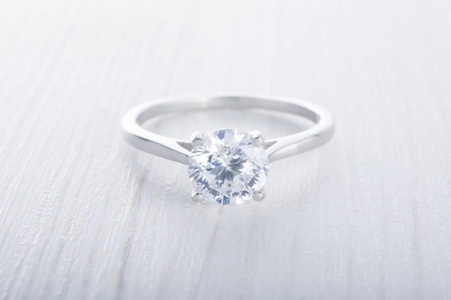 Свадьба - Solitaire 1.5ct genuine white Moissanite cathedral setting ring in Titanium or White gold - handmade engagement ring