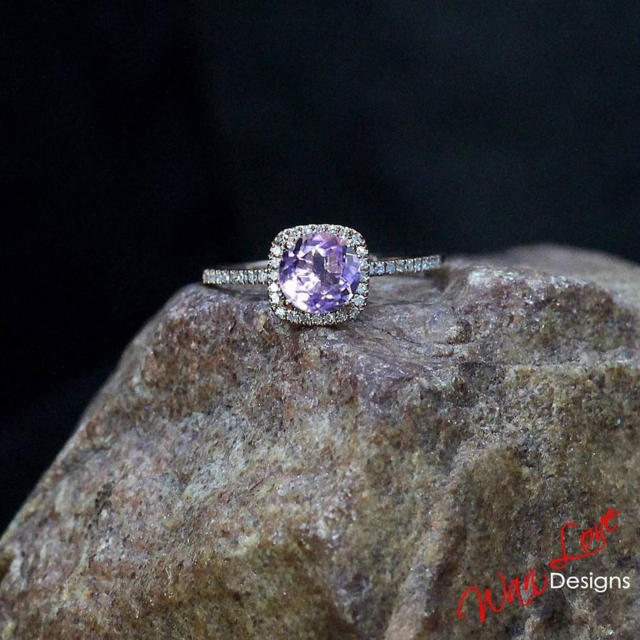 Wedding - Rose de France Amethyst & Diamond Halo Engagement Ring Cushion Round 1ct 6mm 14k 18k White Yellow Rose Gold Platinum Custom Wedding