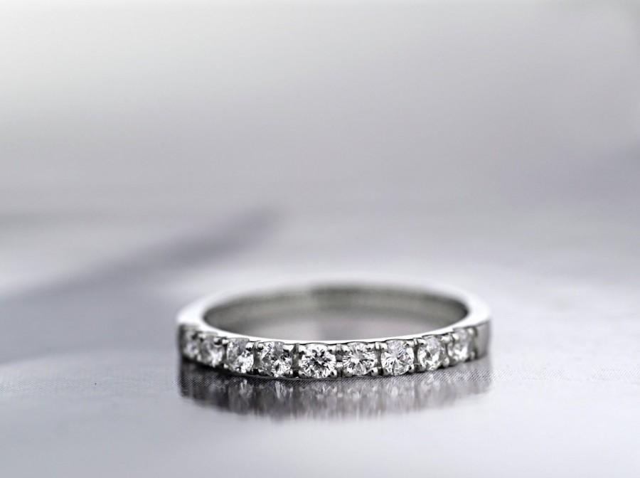 Wedding - Platinum 950 Diamond Half Eternity Ring, Platinum  2mm Wedding Band