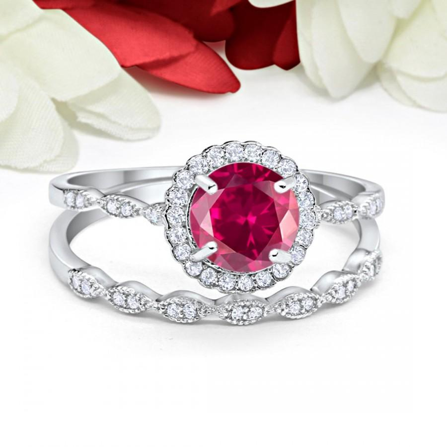 Wedding - Vintage Art Deco Wedding Engagement Bridal Ring Band Two Piece 1.00 Carat Round Ruby CZ Simulated Diamond Solid 925 Sterling Silver