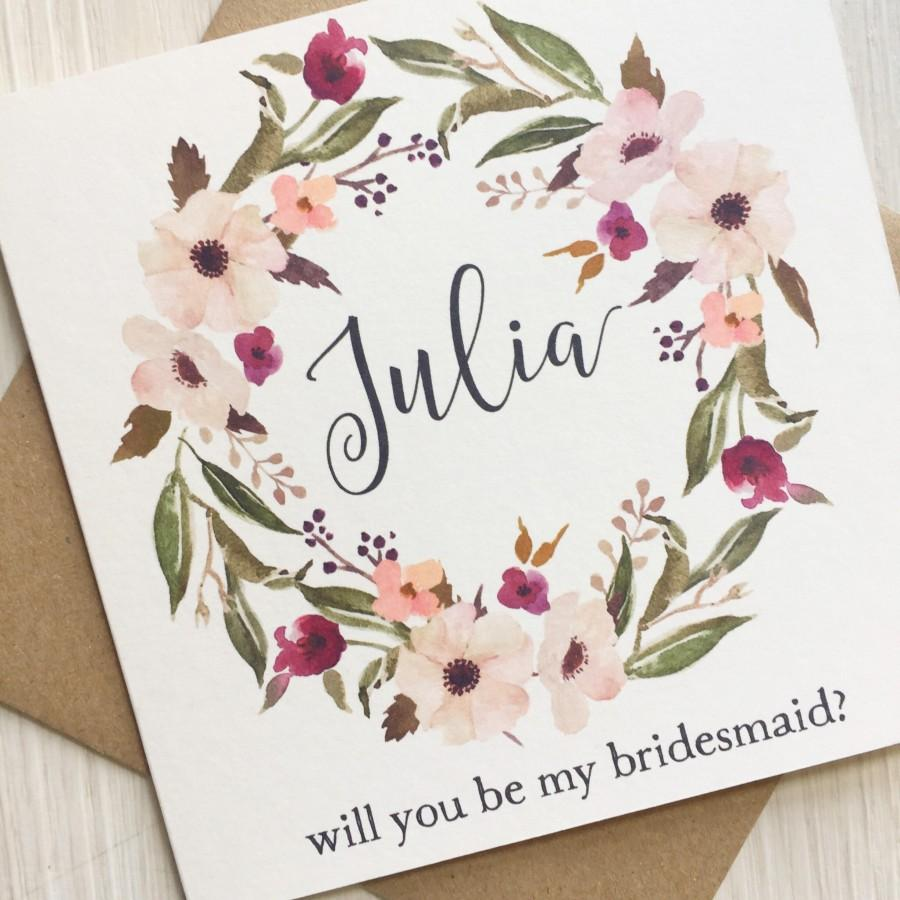 Mariage - Will you be my bridesmaid card - Bridesmaid card - Personalised bridesmaid, maid of honor, flower girl card - greenery and blush bridesmaid