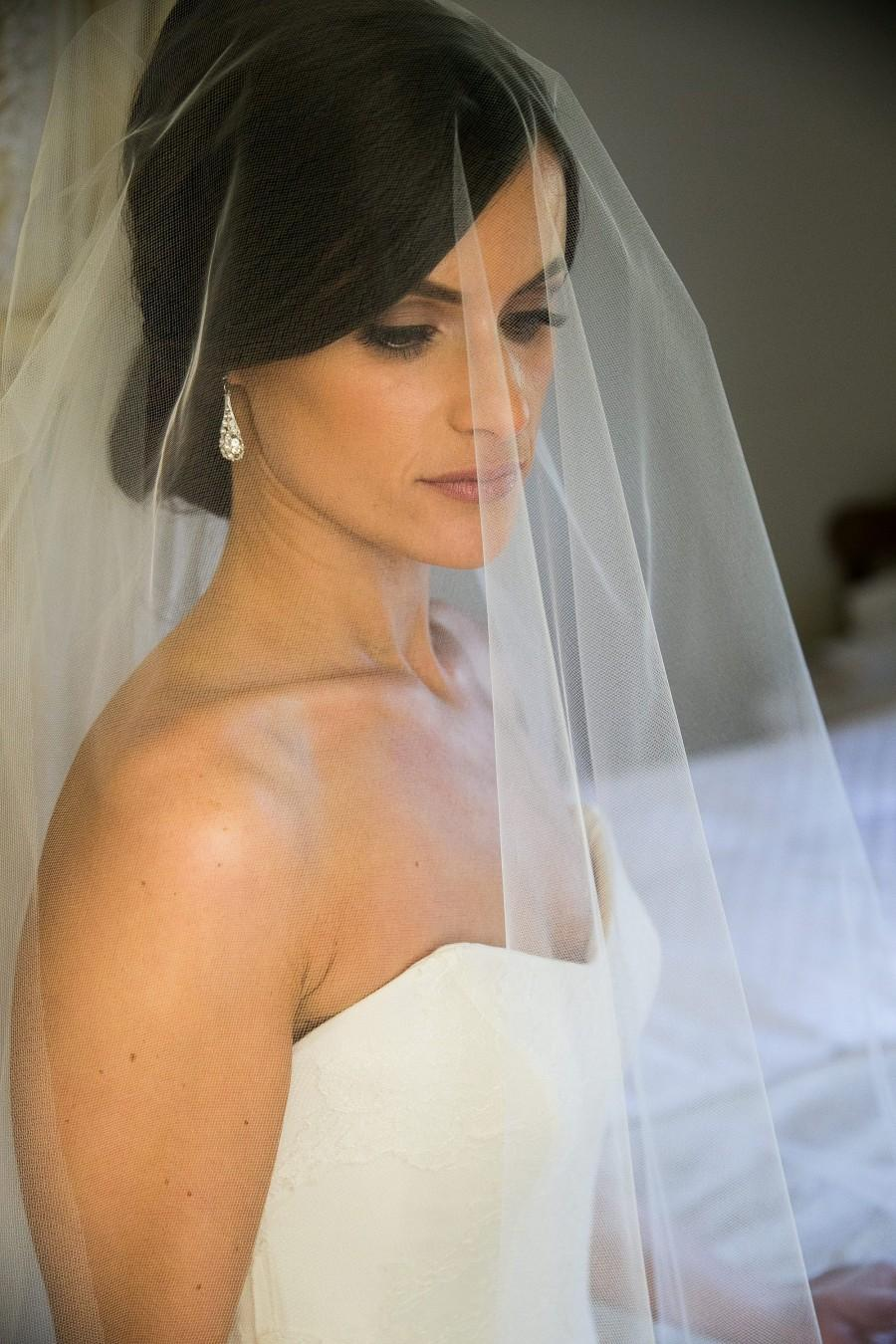 Mariage - SEPARATE ADD-ON Detachable Blusher Veil, Single-tier Fingertip Wedding Veil, waltz or chapel length veil - Lily