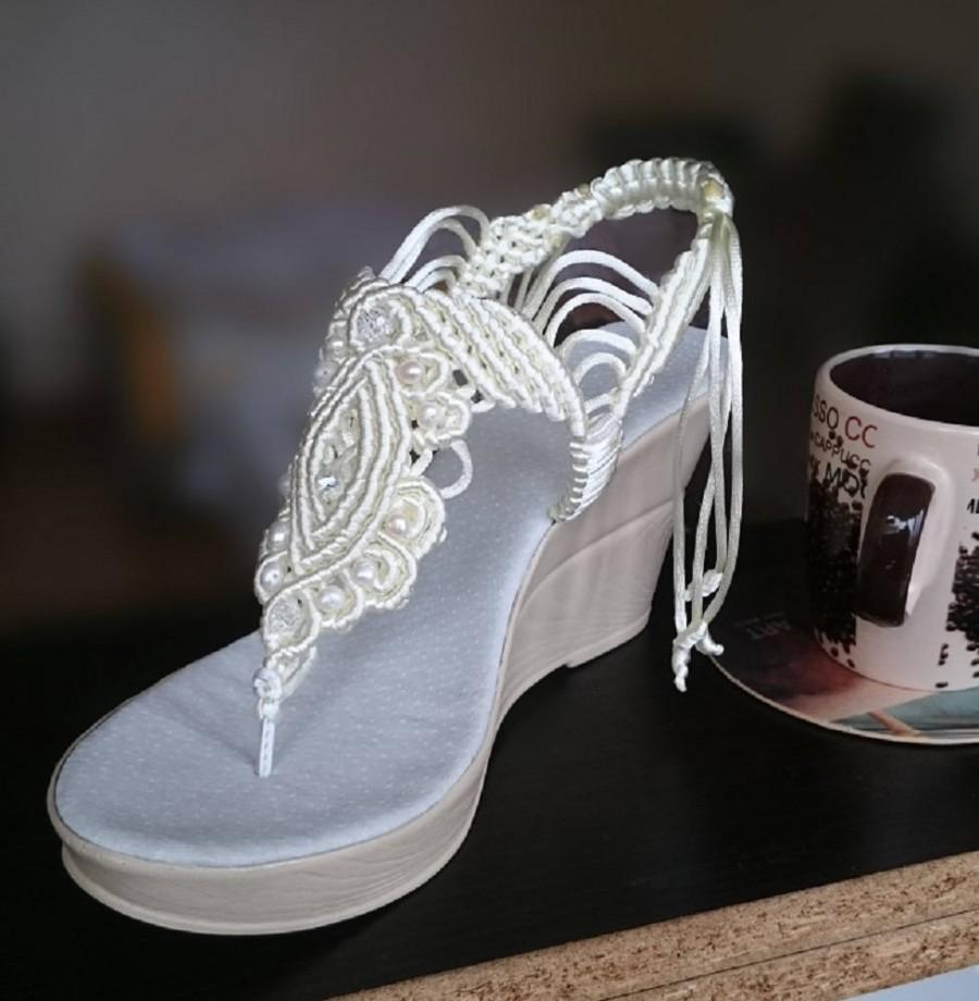 Wedding - White Bohemian Wedding Sandals with Pearls