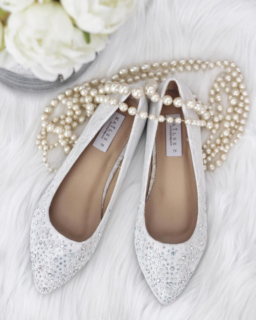 Wedding - Women Wedding Lace Shoes, Bridesmaid Shoes - WHITE LACE Pointy Toe ballet flats with scattered rhinestones - Bridal shoes