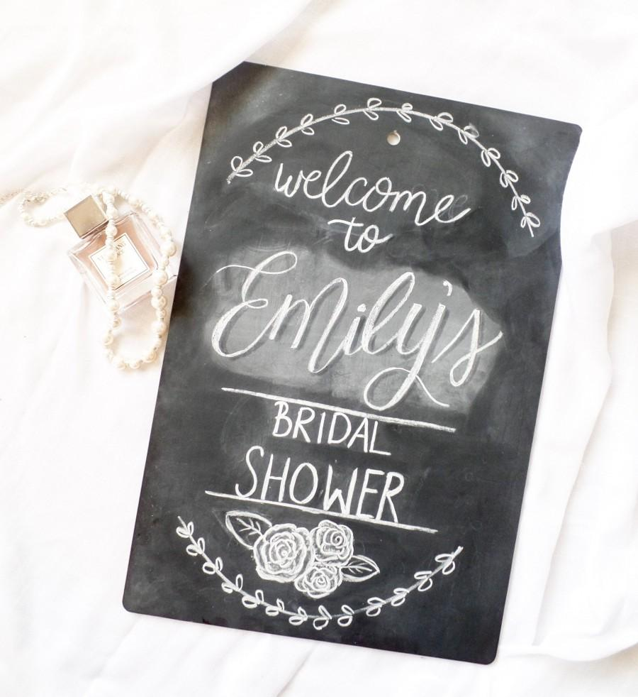 Hochzeit - Personalized Bridal Shower Welcomed Framed Hand Lettered Chalkboard
