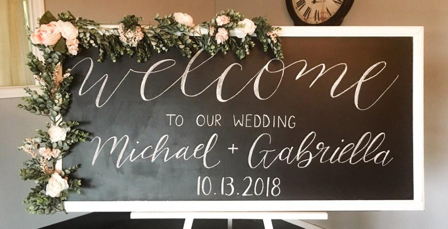 Mariage - Personalized Welcome to Our Wedding Chalkboard Hand Lettered Sign Wedding Decor Gift Idea