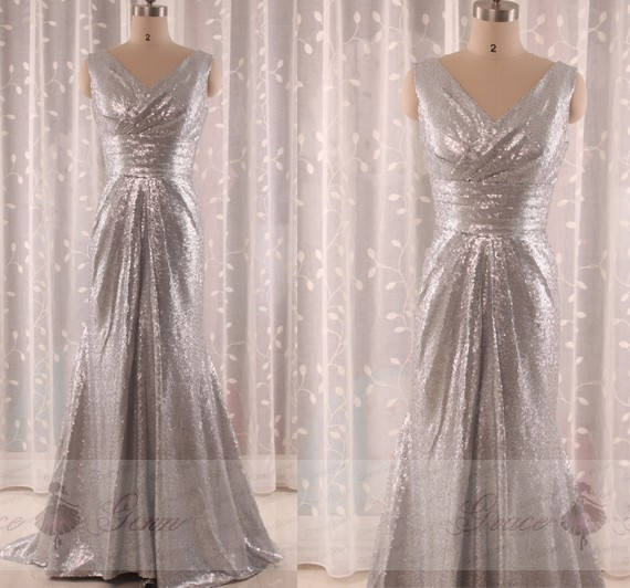 Wedding - Silver Grey Bridesmaid Dress,Sexy Evening Dress,Elegant Prom Dress,Wedding Dress,Custom Prom Dress  Cheap,Sequin Bridesmaid Dress,Prom Dress