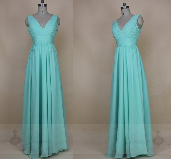 Wedding - Mint Green Bridesmaid Dresses,Long Ruched Bridesmaid Dress 2017,V Neck Bridesmaid Dress,Vintage Formal Evening Dress,Simple Bridesmaid Dress