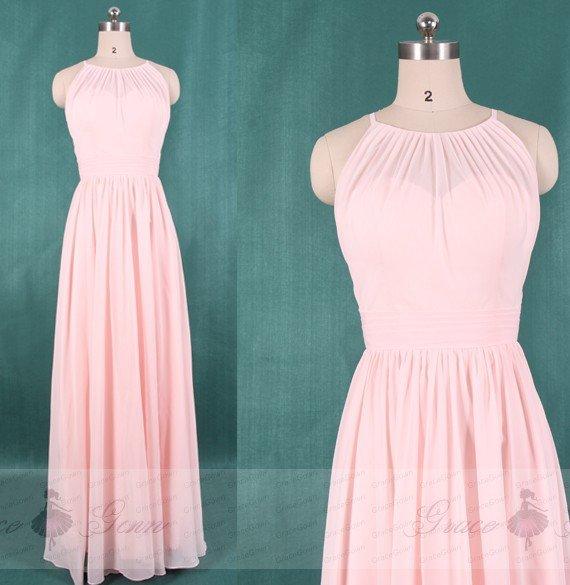 Wedding - Blush Pink Bridesmaid Dress,Keyhole Back Prom Dress,Chiffon Wedding Party Dress,High Neck Long Maxi Dress,Halter Evening Dress Full Length
