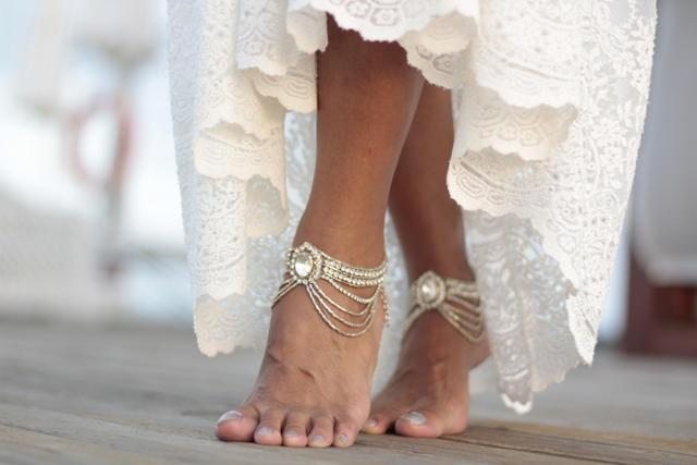 Wedding - Boho beach wedding barefoot sandals, bangle,cuff, wedding anklet,barefoot sandal,ankle cuff,boho sandal