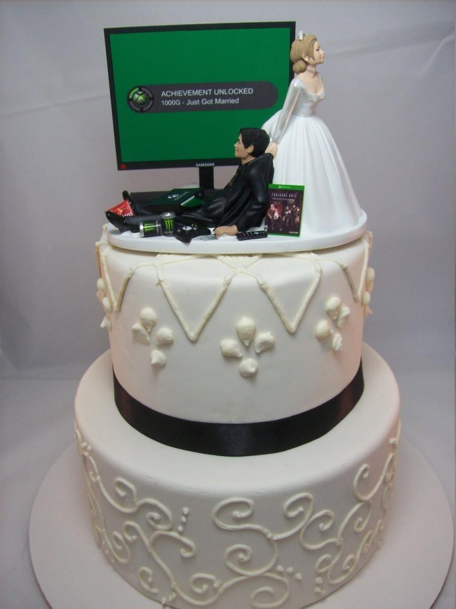Video Game Achievement Unlocked Engagement Marry Funny Wedding Cake Topper Gamer Junkie Gaming Interracial Bride Groom Tan Hispanic X