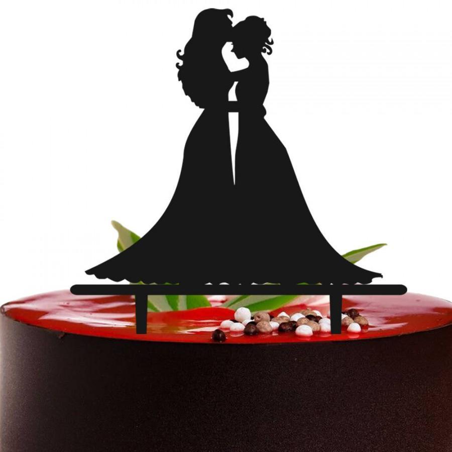 Hochzeit - Customized Same Sex Wedding Cake Topper,Bride And Bride Kiss Wedding Cake Topper,Lesbian Wedding Cake Topper,Mrs and Mrs Wedding Cake Topper