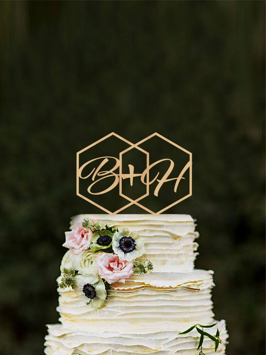 Mariage - Geometric wedding cake topper Initials Hexagon modern cake toppers Monogram Rustic toppers Unique cake topper Custom cake topper gold topper