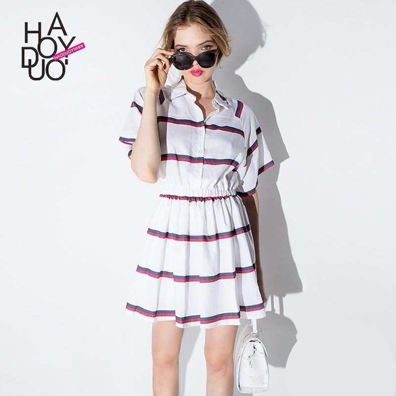 زفاف - 2017 summer dress new Vogue sweet hit color stripe shirt dress - Bonny YZOZO Boutique Store