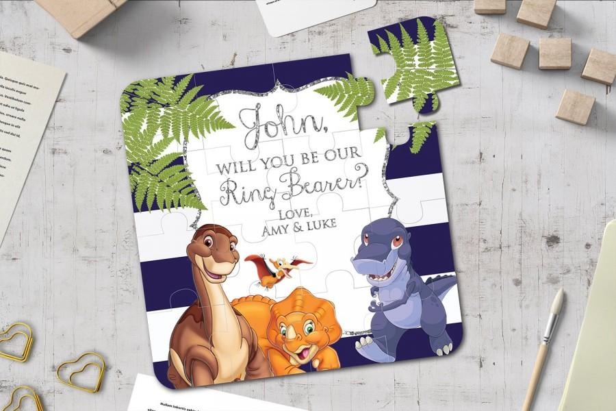 Mariage - Will You Be Our Ring Bearer Dinosaur Puzzle Page boy Jigsaw Will You Be Our Page Boy Proposal Flower Girl Proposal