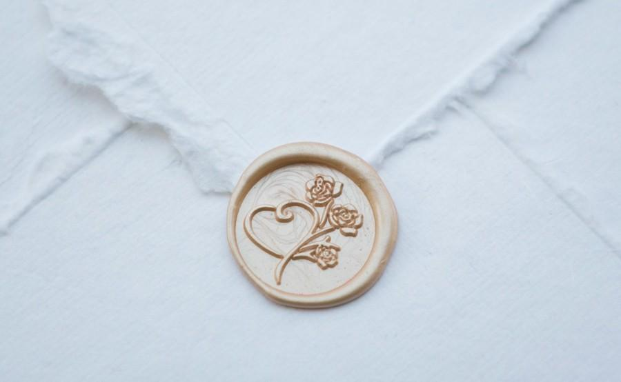 Mariage - Heart and Rose Wax Seal