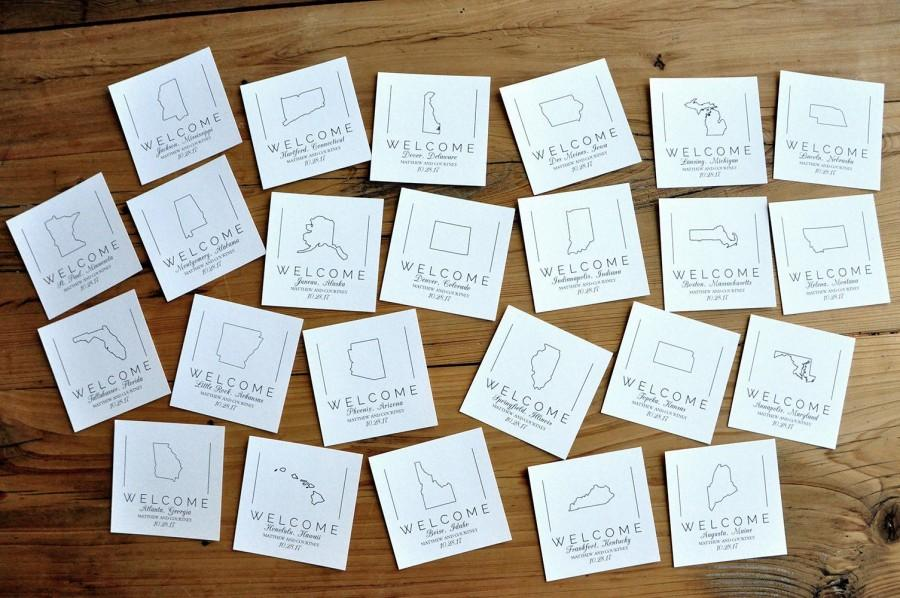 Wedding - State Cards for Welcome Bags or Welcome Boxes. Set of 10 or More.   Crafted in 3-6 Business Days.  Personalized Welcome Tags.