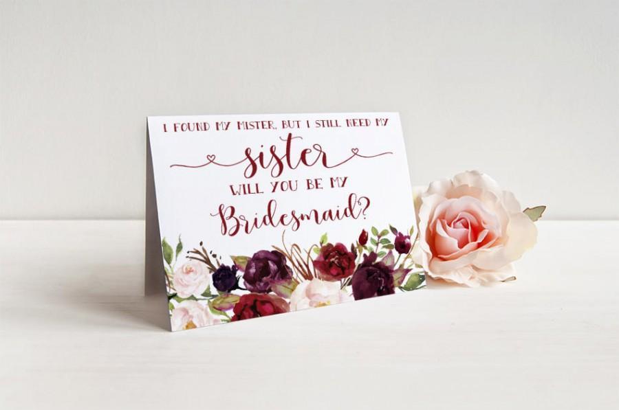 زفاف - I found my mister but I still need my sister Bridesmaid Card - Bridesmaid proposal - Maid of Honor, Matron of Honor, Proposal Card