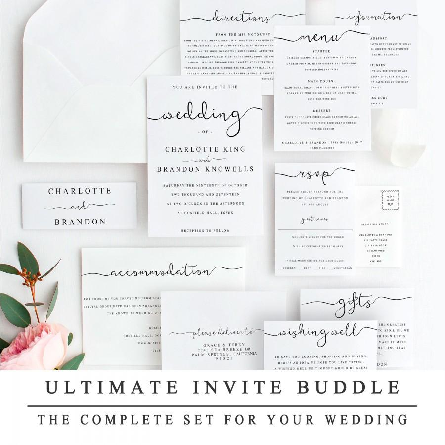 Mariage - ULTIMATE DIY Wedding Invite Template Bundle Of 10 Different Designs, Home Print Wedding Invitation Template, Wedding Suite Instant Download