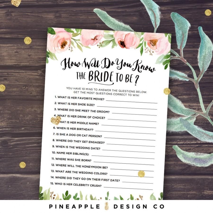 Wedding - Floral Bridal Shower Games, How Well Do You Know the Bride to Be, Who Knows the Bride Best, Rustic Peonies, Blush and Mint, Download