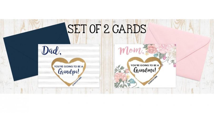 Mariage - Pregnancy Announcement to Parents, 2 card set, You're going to be a grandma, You're going to be a grandpa, scratch off pregnancy reveal