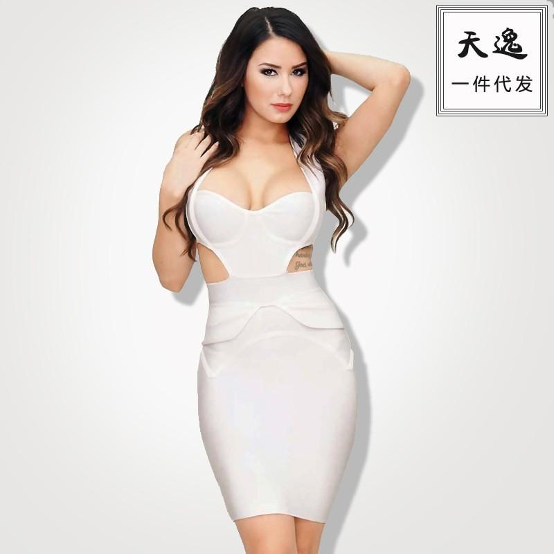Wedding - Fall/winter new style sexy night club career women career women's hang neck Halter tiered bandage skirt dress H1019 - Bonny YZOZO Boutique Store