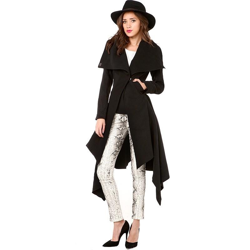 Wedding - Curvy Polo Collar Wool Overcoat Coat - Bonny YZOZO Boutique Store