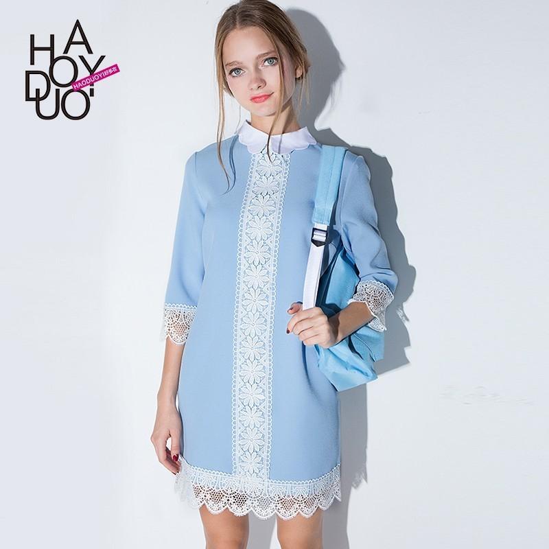 Свадьба - 2017 new autumn and winter sweet temperament doll flower collar lace stitching slim dress - Bonny YZOZO Boutique Store