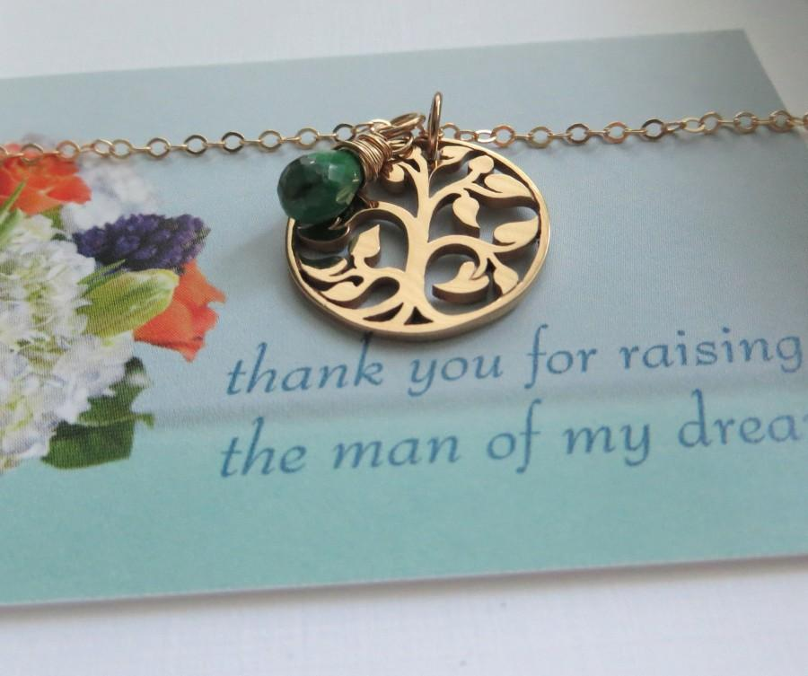 زفاف - Mother of the groom gift from bride, Tree of life necklace, mother in law gift, bronze pendant, birthstone charm, wedding jewelry