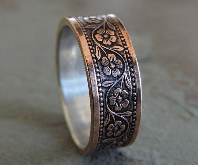 زفاف - 8mm FLORAL Silver & Copper // Men's Wedding Ring // Women's Wedding Ring // Men's Wedding Band // Women's Wedding Band // Unique Band