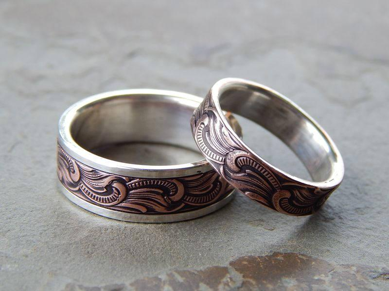 زفاف - PAISLEY Silver & Copper // Mens Wedding Band // Womens Wedding Band // Silver Wedding Band // Copper Wedding Band // Mens Wedding Ring