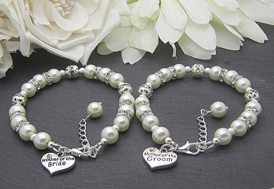 زفاف - Mother of the Bride Bracelet, Mother of the Groom, Set Of Two, Ivory Bridal Sets, Brides Mother Charm Bracelet, Grooms Mother Gift,