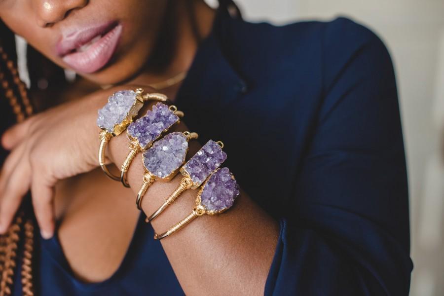 Mariage - Raw Amethyst Crystal Bracelet • Gold Silver Amethyst Bracelet • Raw Crystal Adjustable Bracelet • Bridesmaid Gift • Healing Crystal Bracelet