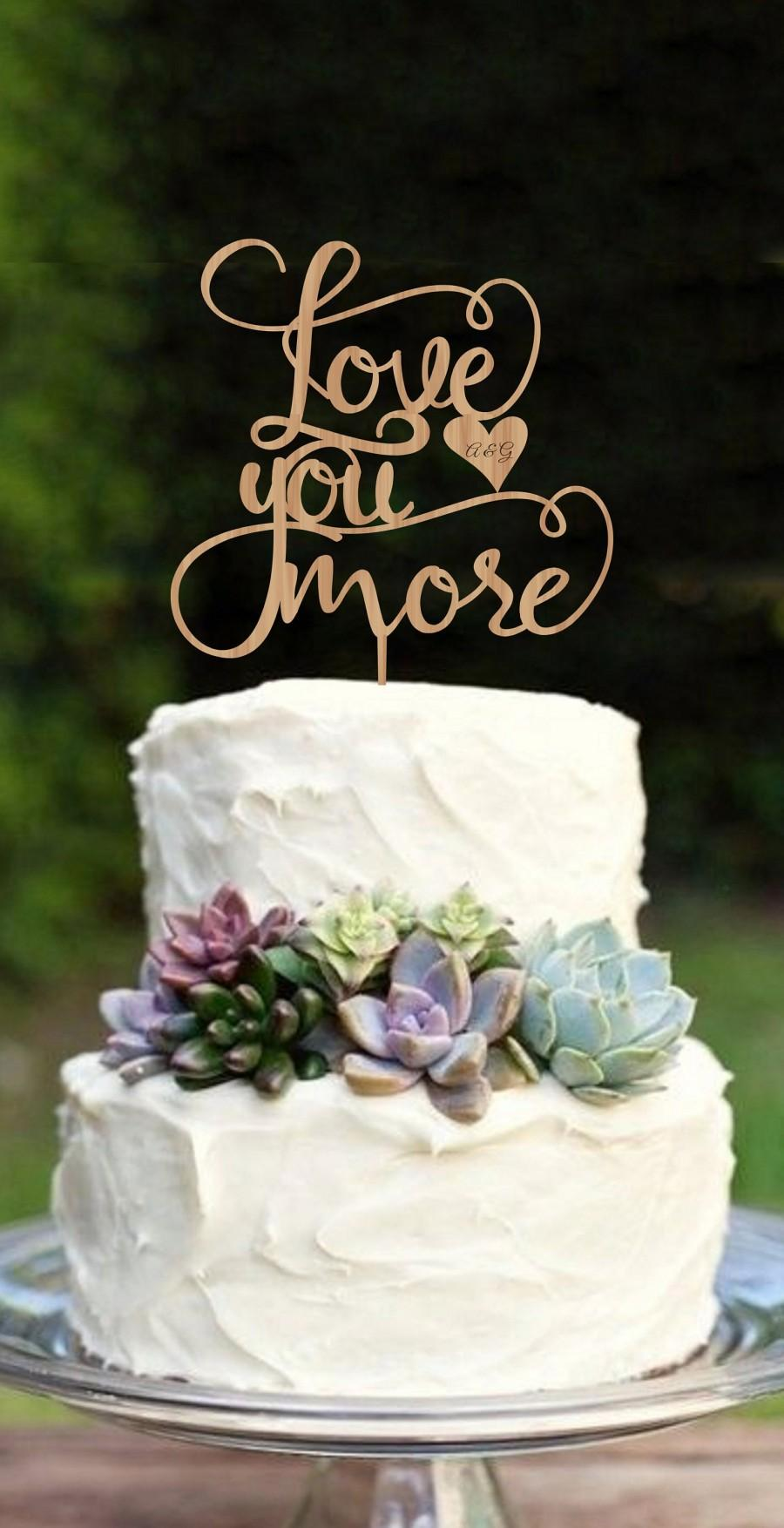 زفاف - Wedding Cake Topper Love you more  Personalized Wood Cake Topper  Golden Silver  Cake Topper Customized Wedding Cake Topper