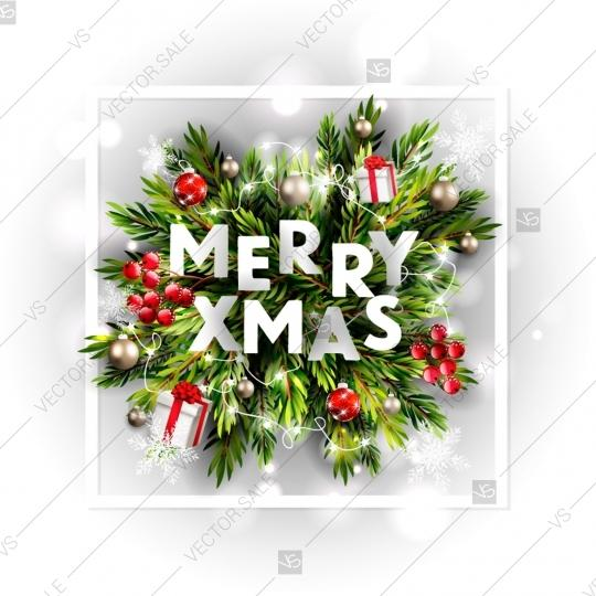 merry christmas party invitation and happy new year party invitation card fir pine gift box balls floral watercolor