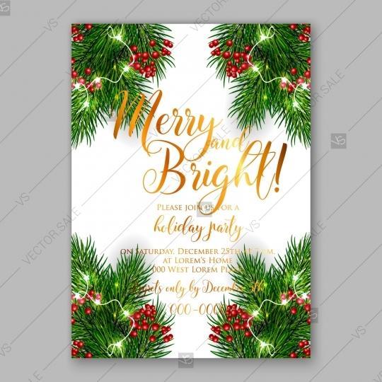 Свадьба - Christmas Party Invitation vector wreath fir pine branch red berry ball lights garland romantic invitation