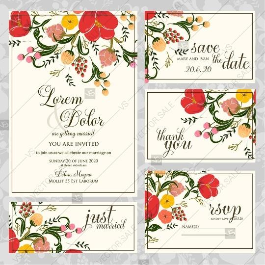 Hochzeit - Peony, anemone floral wedding invitation vector template