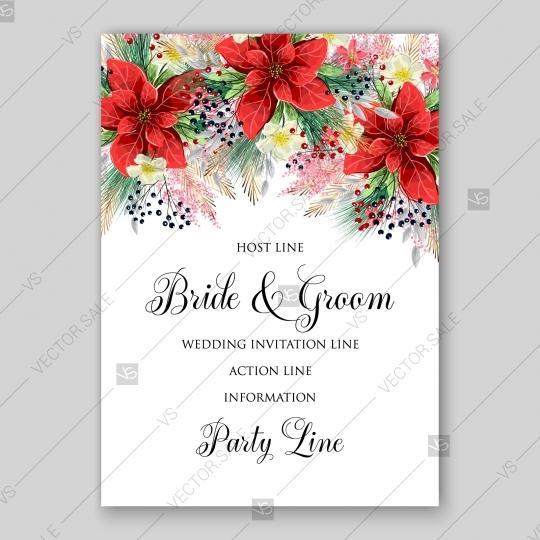 Poinsettia Wedding Invitation Winter Vector Template Card Floral