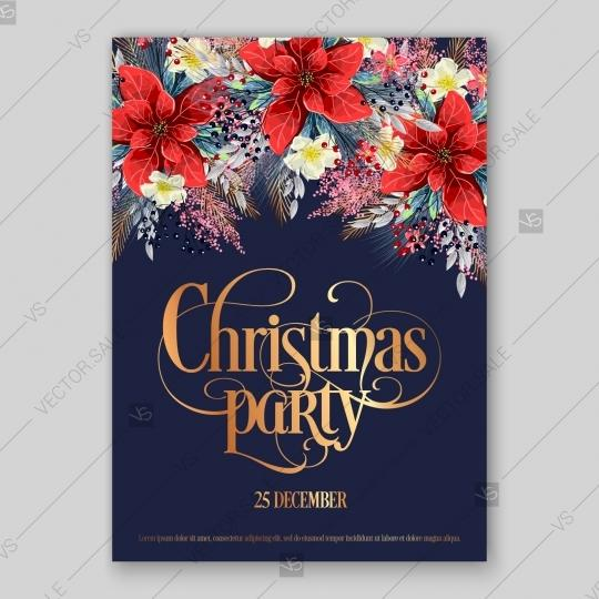Save The Date Christmas Party Template.Poinsettia Christmas Party Invitation Vector Card Template