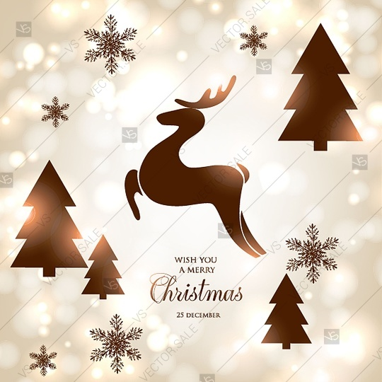 Merry Christmas Party Invitation Card Template With