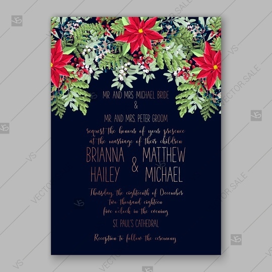 poinsettia wedding invitation red floral wreath vector card template