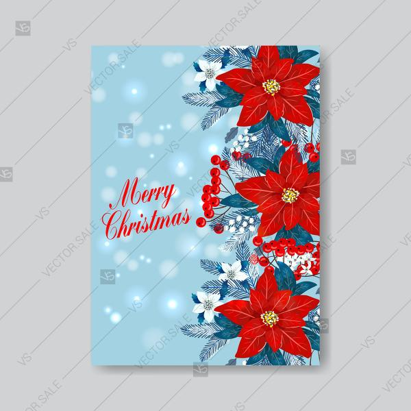 red poinsettia merry christmas and happy new year greeting card vector template on blue background custom invitation