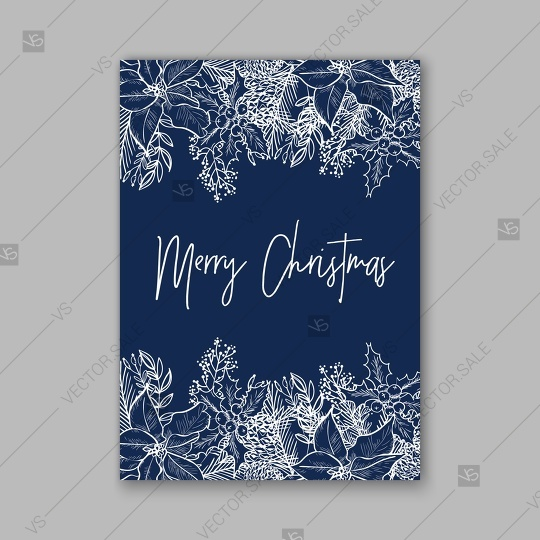 Wedding - Merry Christmas Party invitation poinsettia wreath poster vector template