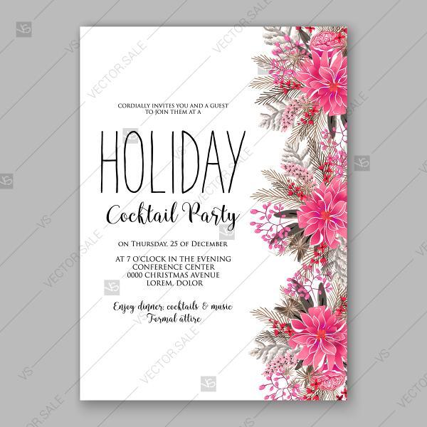 Свадьба - Merry Christmas party invitation winter floral wreath fir pine red poinsettia birthday card